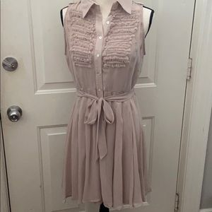EUC size L sheer button front with tie tan dress.